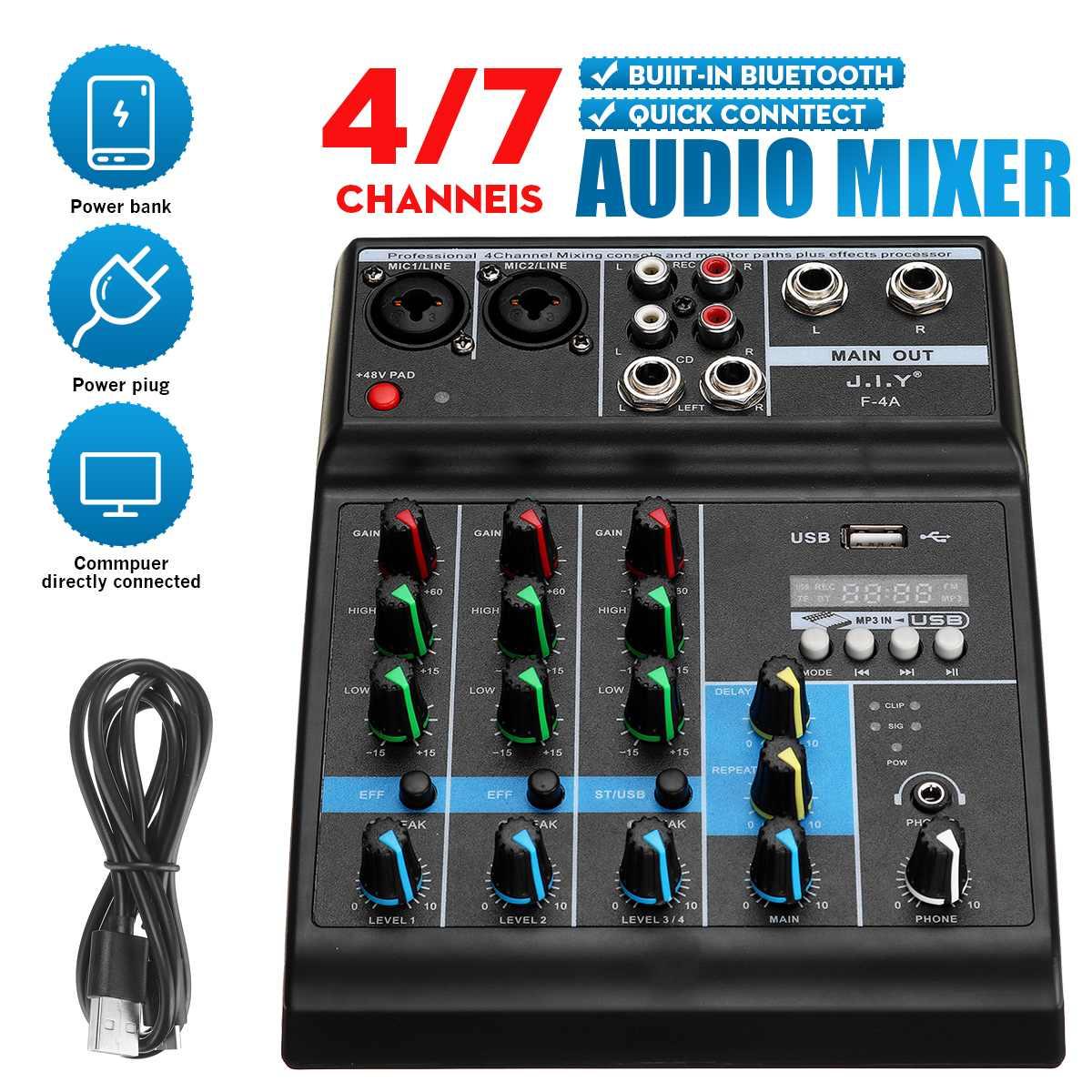 Professionelle 4 Kanal Audio Mixer bluetooth 5,0 USB Computer Nachhall DJ Controller Bühne Lifeshow Mischen Konsole