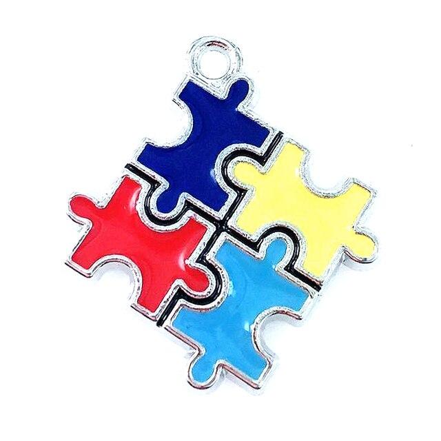Wholesale 100pcs Color Enamel Autism Awareness Jigsaw Puzzle Piece Dangle Charms pendant Fit DIY Necklace Bracelet Jewelry