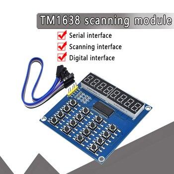 Pantalla LED Digital TM1638, placa de tubo Digital de 8 Bits, 16 teclas de 3 cables, 8 Bits, escáner de teclado y módulo de clave LED para Arduino