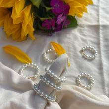 Moda artesanal concha pérola anéis para mulheres elástico ajustável moda jóias de aço inoxidável pérola frisado anéis presentes de casamento