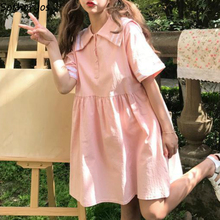 Female Dresses Oversize Patchwork Korean-Style Mini Empire Sailor-Collar Loose Sweet