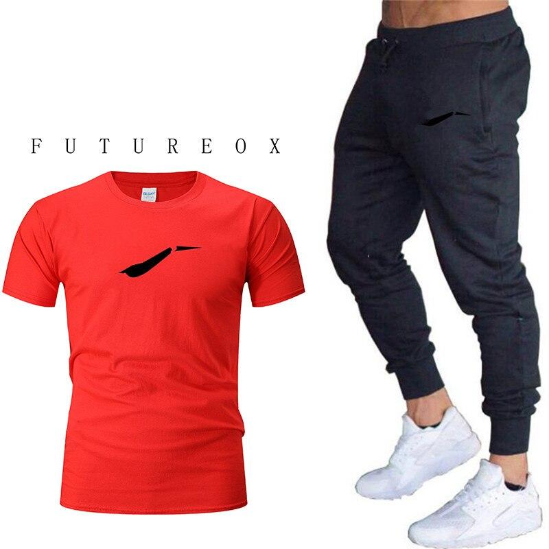 2020 New Brand Fashion Sports T-shirt Men's Summer Short-sleeved Sports Suit T-shirt + Shorts Men's 2 Casual Wear