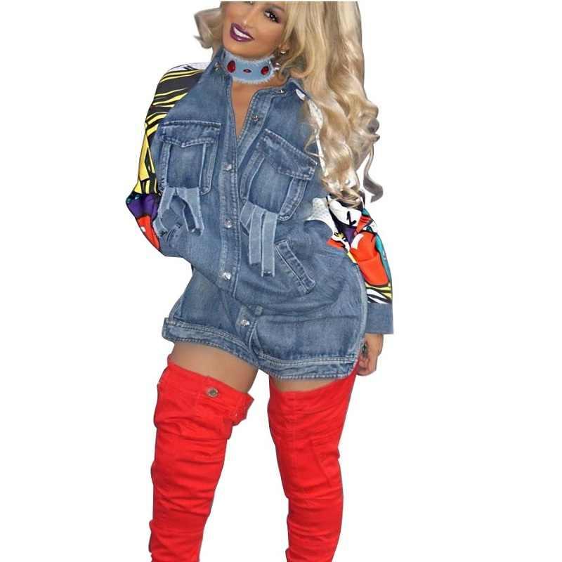 de de de Invierno Abrigo mujer moda para largo mezclilla cAR354LjqS
