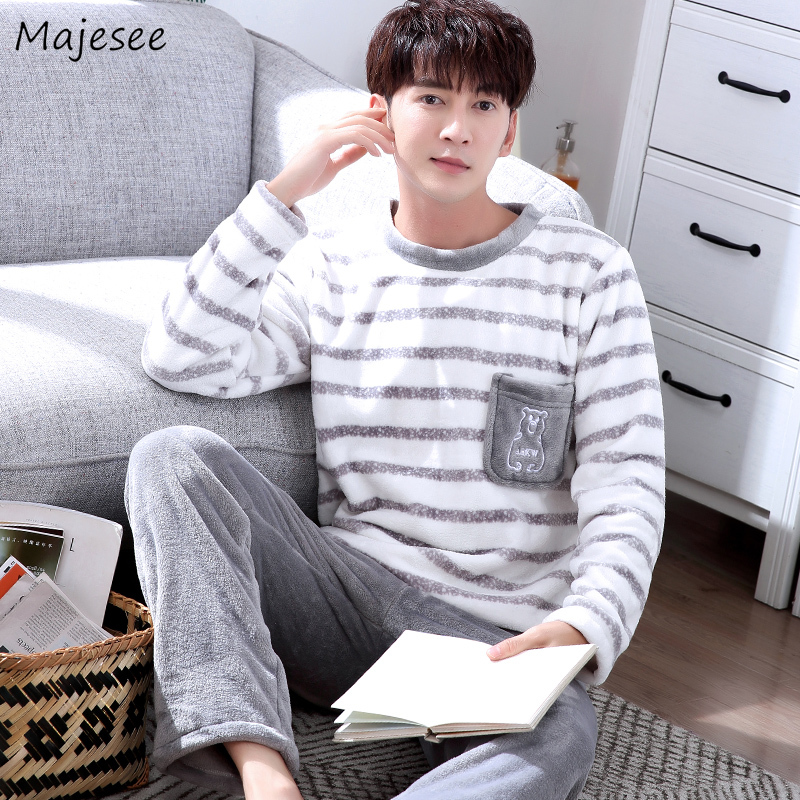 Pajama Set Men O-neck Long Sleeve Striped Comfortable Warm Mens Pajamas Plus Size Korean Style Harajuku Home Clothing Casual