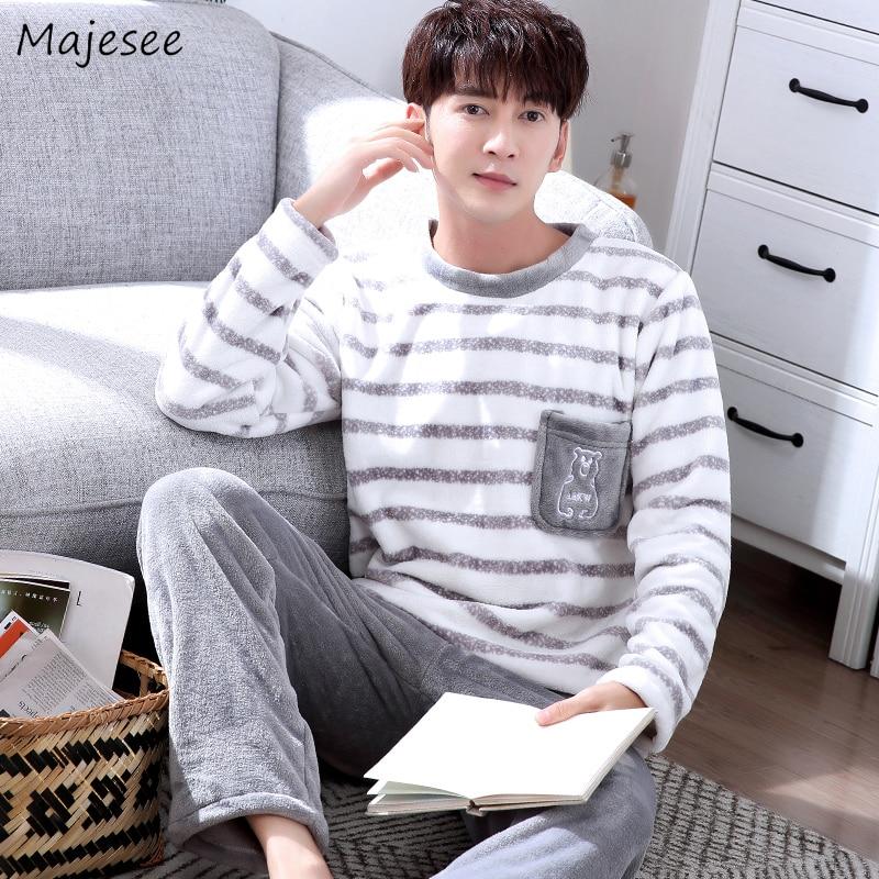 Pajama Set Men O-neck Long Sleeve Striped Comfortable Warm Mens Pajamas Plus Size Korean Style Harajuku Home Clothing Casual