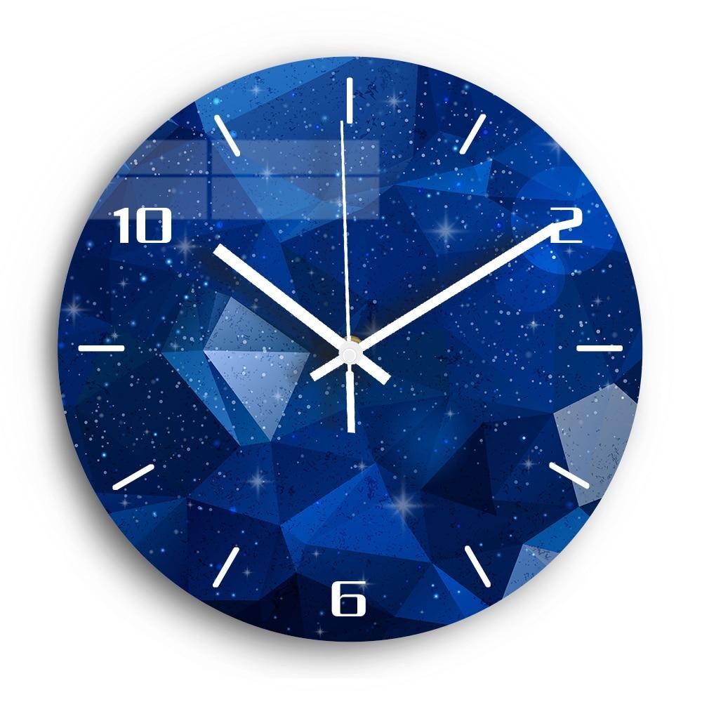 Decorative Wall Clock Mute Clockwork Night Starry Sky Acrylic 3D DIY Modern Design Wall Clock For Living Room Kitchen Watch