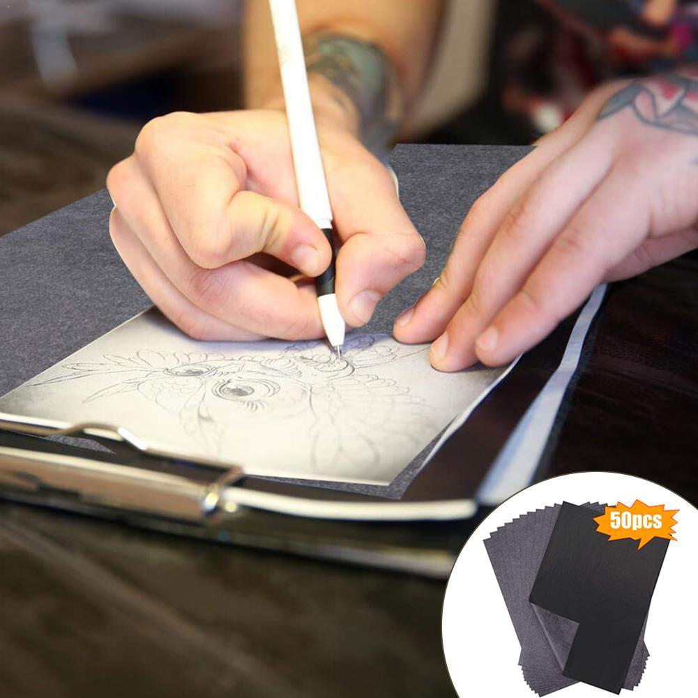 50pcs/set Carbon Papers Graphite Single-sided Black Painting Paper Paper Carbon Reusable Accessories Painting Legible Traci Z1I0