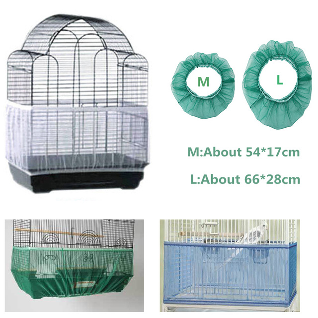 Nylon Mesh Bird Cage Cover Shell Skirt Net Easy Cleaning Seed Catcher Guard Bird Cage Accessories Airy Mesh Parrot Bird Cage Net 2