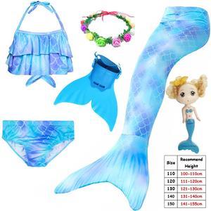 Image 5 - Kinder Kinder Meerjungfrau Schwänze für Schwimmen Meerjungfrau schwanz mit Monofin Mädchen Kostüme Swimmable Badeanzug mit Bikini Flipper