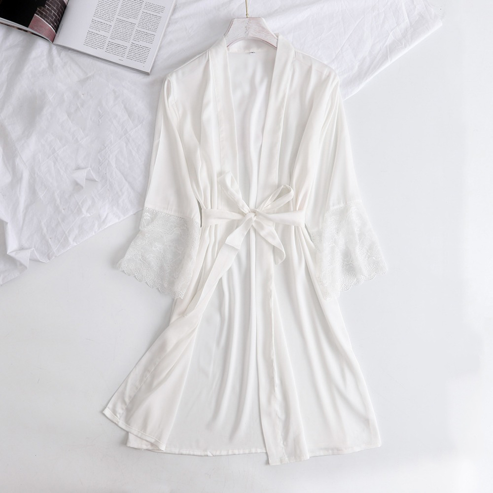 Satin Bride Bridesmaid Wedding Robe Half Sleeve White Lace Kimono Gown Summer New V-Neck Casual Nightwear Intimate Lingerie