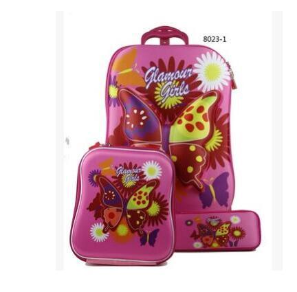 Kids Rolling Bag 6D EVA Girl's Boy's Trolley Bag For School Cartoon Children's Travel Wheeled School Bag With Lunch Backpack