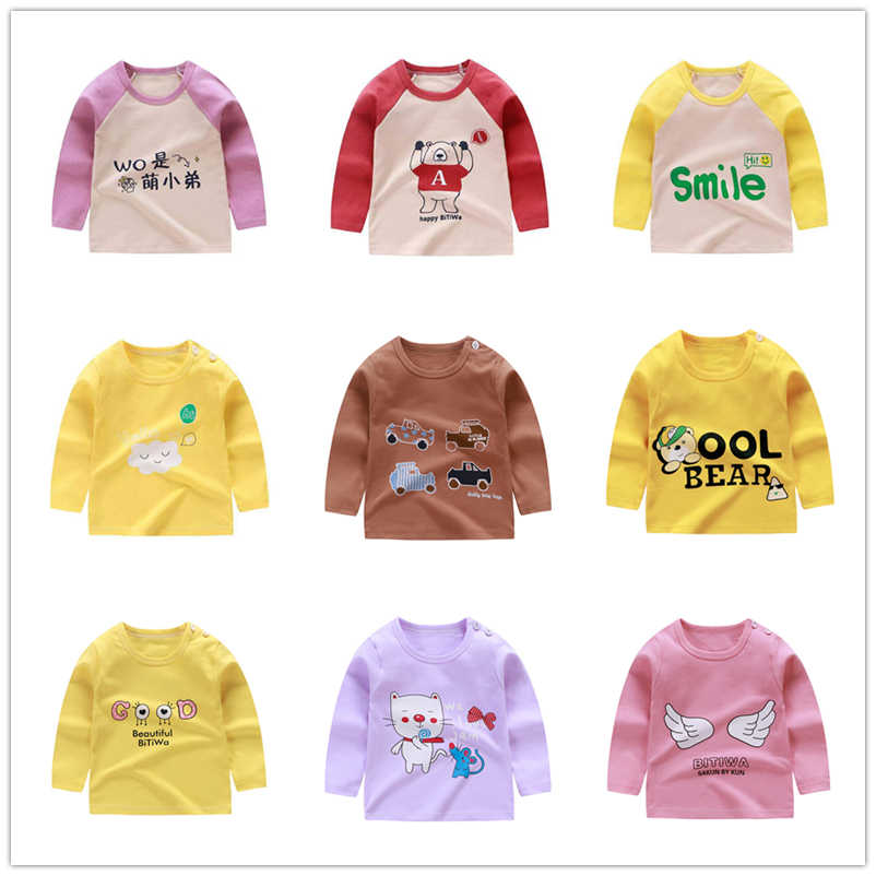 Ready Stock Baby Girls Letter Long Sleeve Tshirts For Toddler Fashion Cotton O-neck Tee Baby Boys Clothing