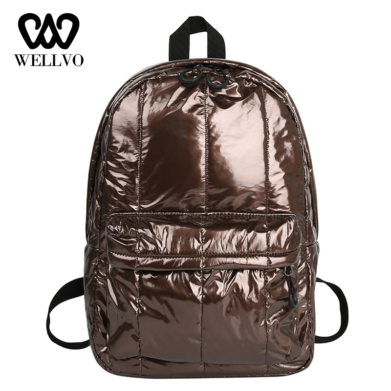 Women <font><b>Backpack</b></font> Female Travel Waterproof Nylon Glossy School <font><b>Backpacks</b></font> Girls Reflective Silver Bag mochilas mujer 2019 XA66WB image