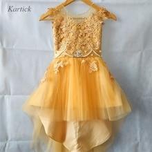 Новые золотые Платья с цветочным узором для девочек модное платье для маленьких девочек на свадьбу для дня рождения и крещения вечерние платья для торжеств