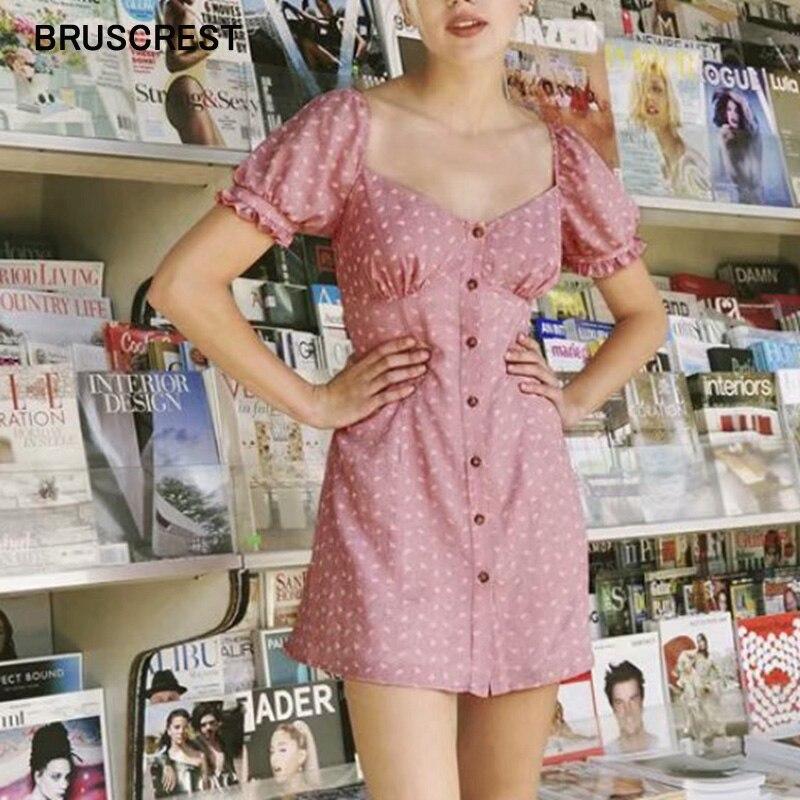 Pink Leaves Puff Sleeve Casual Dress Square Neck Summer Dress Boho Ruffle Mini Dresses Short Sleeve Beach Sexy Party Vestidos