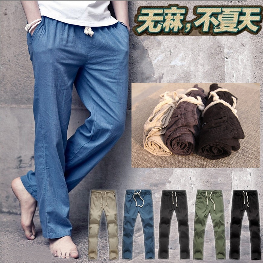 MEN'S Casual Pants Large Size Linen Pants Men's Trousers Cotton Pants Spring And Autumn Beach Shorts Good Quality Goods Foot