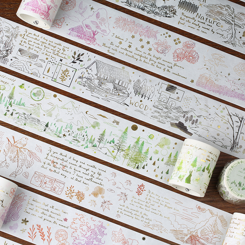 Plant Landscape Series Bullet Journal Gold Washi Tape Cute Decorative Adhesive Tape DIY Scrapbooking Sticker Label Stationery