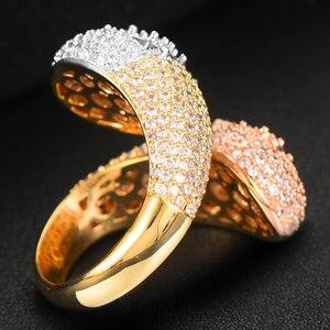 Image 5 - GODKI יוקרה כפול ראש Stackable חתונה לנשים כלה אירוסין תכשיטי חתונת מעוקב Zirconia CZ אביזרי טבעות