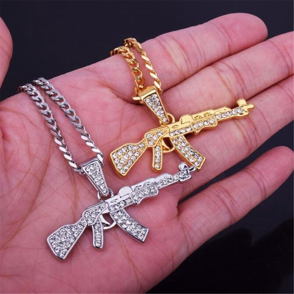Fashion Punk Hip-Hop Women Men Gun Shape Pendant Crystal Rhinestone Chain Necklace Creative Necklaces Jewelry