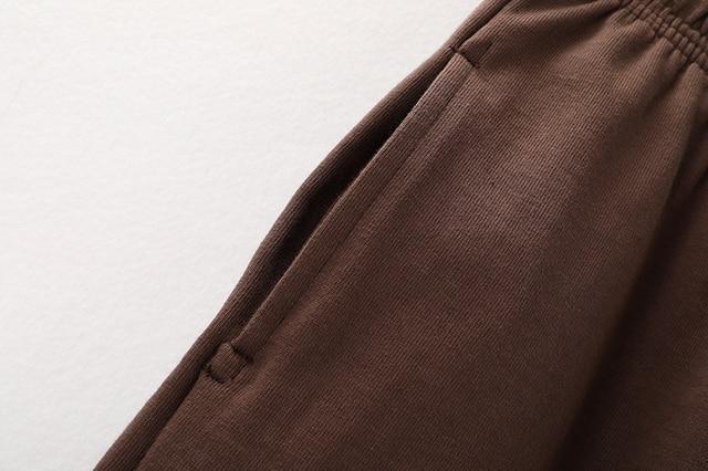 PUWD Slim Girls Soft Cotton Shorts 2021 Summer Fashion Ladies Brown Joggers Shorts Vintage Women Chic Bottoms Sweet 3