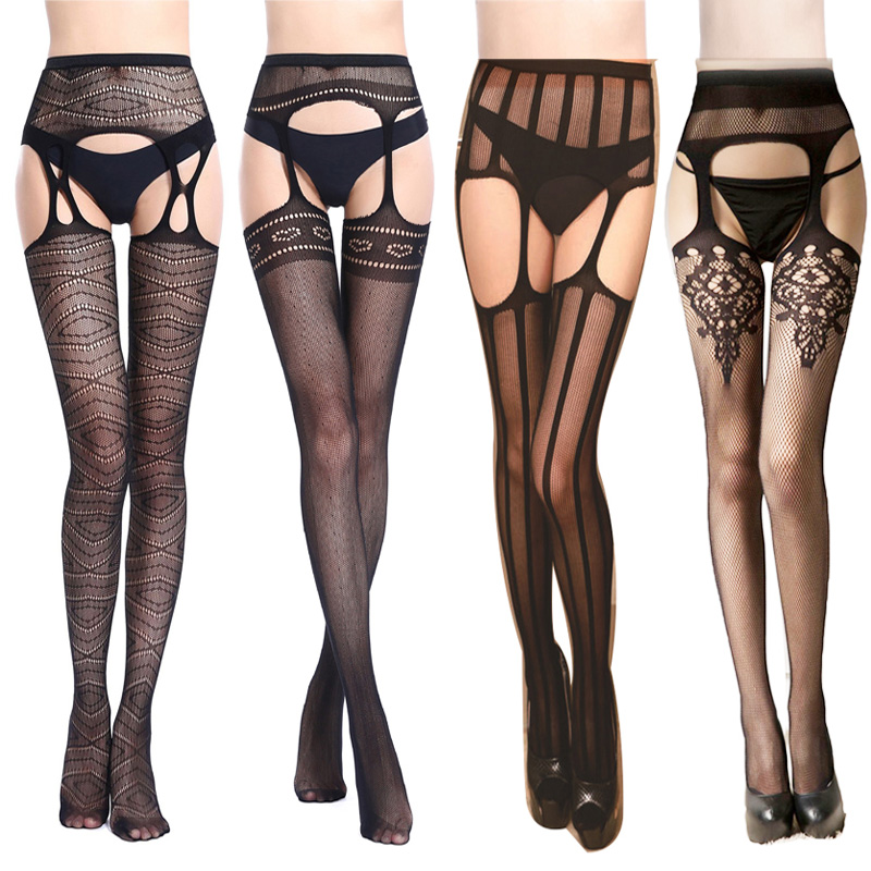 Women Sexy Garter Belt Stocking Tighs Sheer Lace Stockings Female Thigh High Fishnet Embroidery Transparent Crotchless Pantyhose
