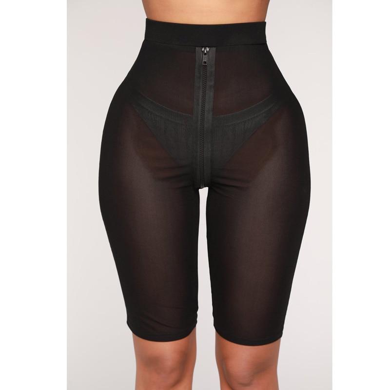 Fashion High Waist Shorts Women Mesh See Through Biker Shorts Short Feminino Slim Fitness Cycling Black Short Trousers Sweatpant