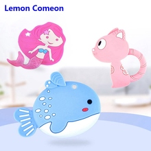 1PC Silicone Fish Teether Baby Teething Pendant Cat Mermaid Teether Necklace Din
