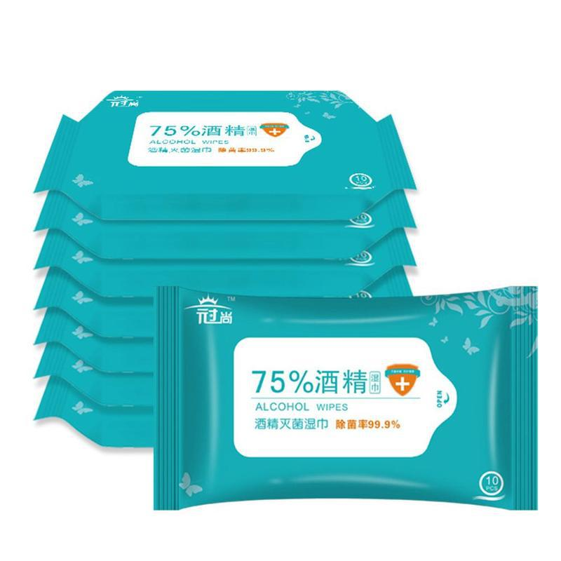10pcs/bag Traval Wet Wipes Personal Disinfection Portable 75% Alcohol Pads Wipes Antiseptic Cleanser Cleaning Sterilization