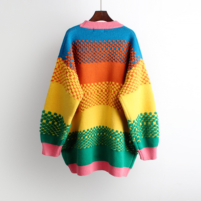 Rainbow Colorful Oversized Knitted Pullover  2