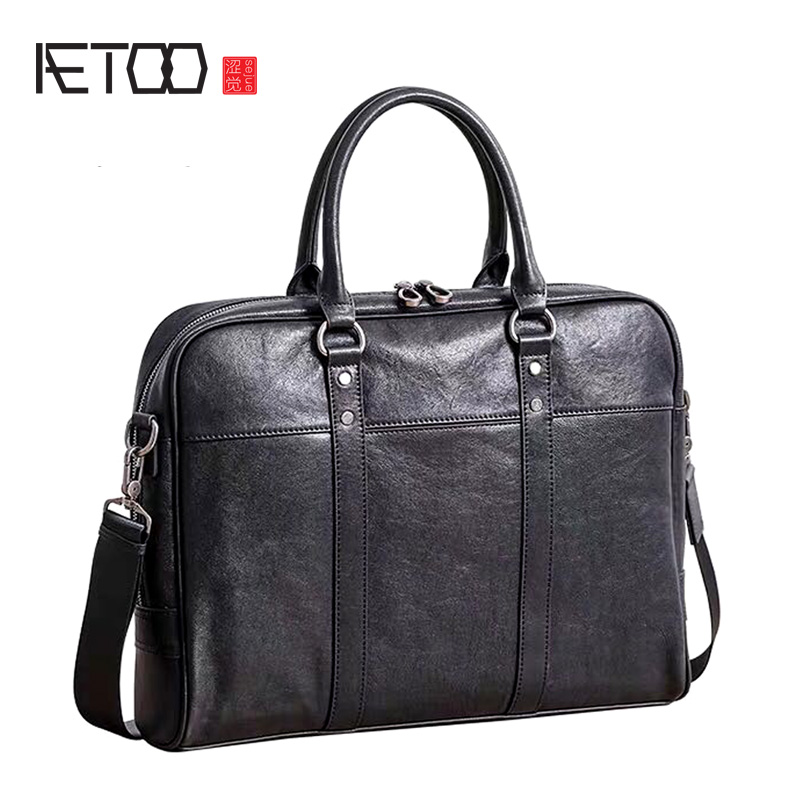 AETOO New Leather Men's Bag Handbag Business Casual Shoulder Computer Bag Head Layer Leather Briefcase Tide