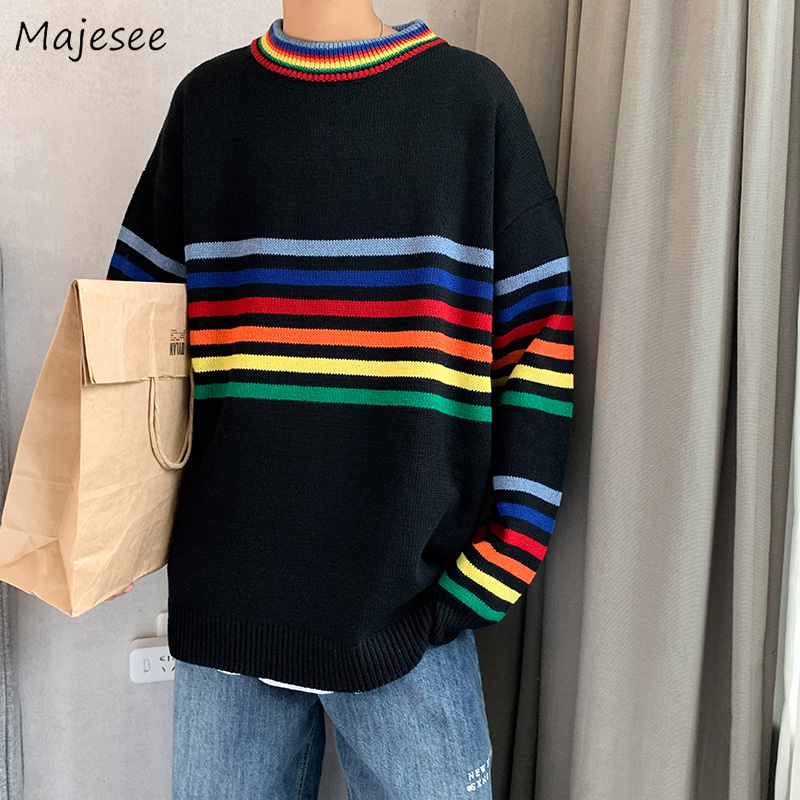 Casual Sweater Men O-neck White Harajuku Top Long Sleeve Mens Sweaters Warm Males Pullover Plus Size Korean Fashion Clothes Soft