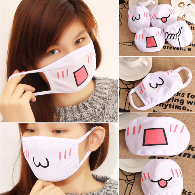 Wholesale Cute Mouth Mask Women kpop Cartoon Funny Face Masks Cotton Washable Reusable Anti Haze Dustproof Mouth-muffle White 4