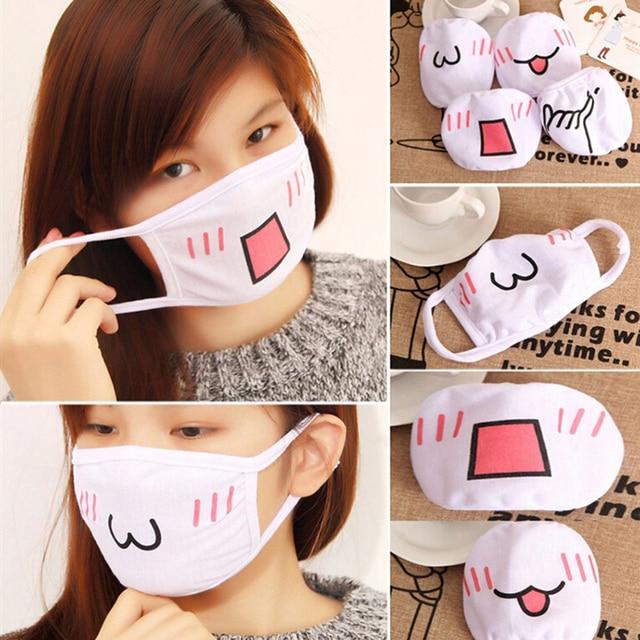 Wholesale Cute Mouth Mask Women kpop Cartoon Funny Face Masks Cotton Washable Reusable Anti Haze Dustproof Mouth-muffle White 4