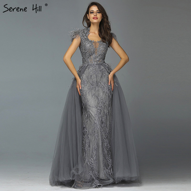 Dubai Grey Sleeveless Tulle   Evening     Dresses   Design 2019 Crystal Feathers Luxury   Evening   Gowns Serene Hill LA70020