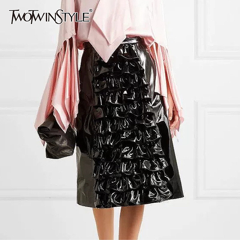 TWOTWINSTYLE Black PU Leather Patchwork Ruffle Women's Skirts High Waist A Line Skirt Female 2019 Autumn Fashion New Clothing