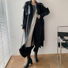 Trench lungo Maxi in pelle autunno/autunno Designer Korea Runway 2021 con cintura Chic giacca a vento femminile classica