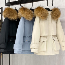Parkas Jacket Outerwear Down-Coat Hooded Natural-Raccoon Thick Winter 90%White-Duck-Down