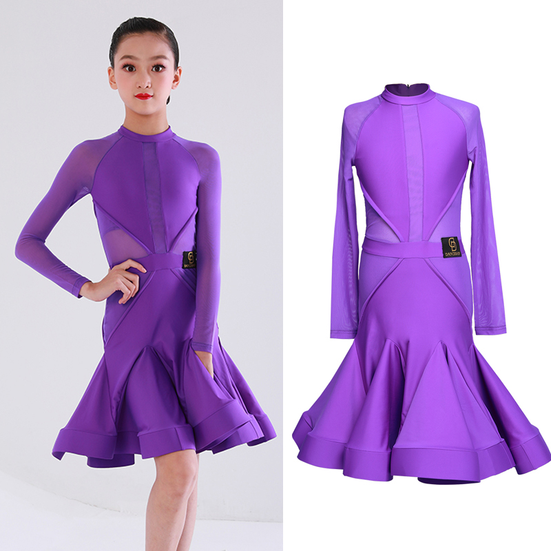 Children'S Latin Dance Dress Purple Dress Dance Costume Girls Dance Dress Professional Competition Kids Dresses For Girls L3032