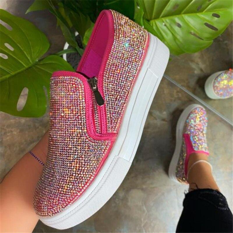 Crystal Diamonds Women Flats Bling Woman Shoes Rhinestone Ladies Casual Shoes Round Toe zippe Platform Shoes Ladies Sneakers