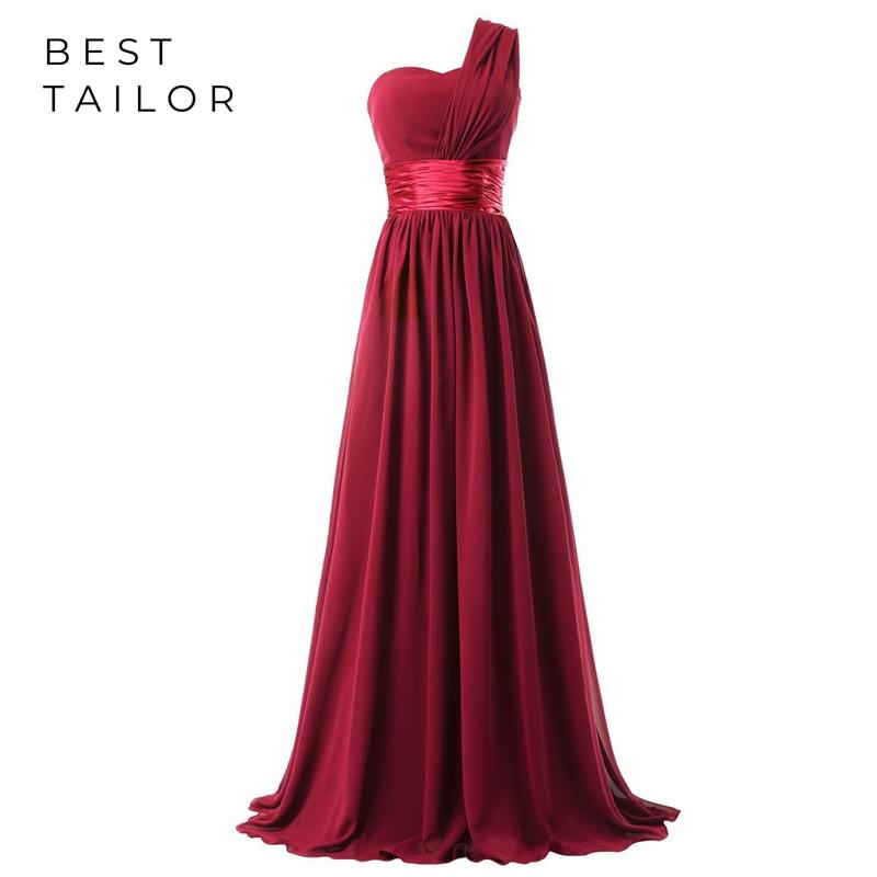 Bridesmaid Dresses Long Maid Of Honor Gowns 2020 One Shoulder Lace Up Red Robe Demoiselle D'honneur Vestidos De Fiesta Noche