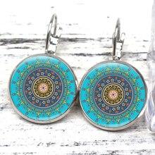 New Color Vintage Kaleidoscope Mandala Charm Earrings Elegant Sacred Geometry Simulation Blue Enamel Colorful Modern