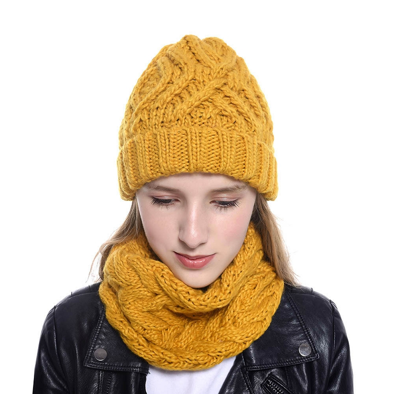 New Women Autumn Winter Hat Scarf Set Solid Color Knit Beanies Girls Warm Scarf Fashion Hat