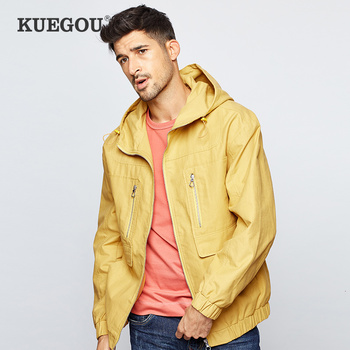 KUEGOU 2019 Autumn Embroidery Hooded Casual Jacket Men And Coats For Outwear Hip Hop Streetwear Tactical Vintage Clothes 0913