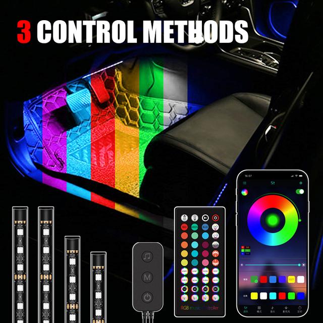 Nowy 48 LED samochodów oświetlenie podłogowe otoczenia lampa stołowa z USB pilot aplikacji pudełko kontrola wiele trybów samochodowych dekoracyjne do wnętrza światła tanie i dobre opinie Niscarda Rohs CN (pochodzenie) Klimatyczna lampa Car Interior ABS+Silica gel+other 4pcs set 180 Degree emitting 5V 12V 4*12LED