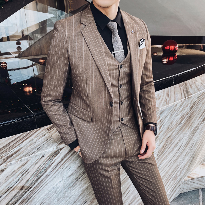 British Style 3PC Men Suit Striped Spring New Formal Wear Wedding Suits For Men Fashion Slim Fit Suit Men 2020 Jacket+Pant+Vest