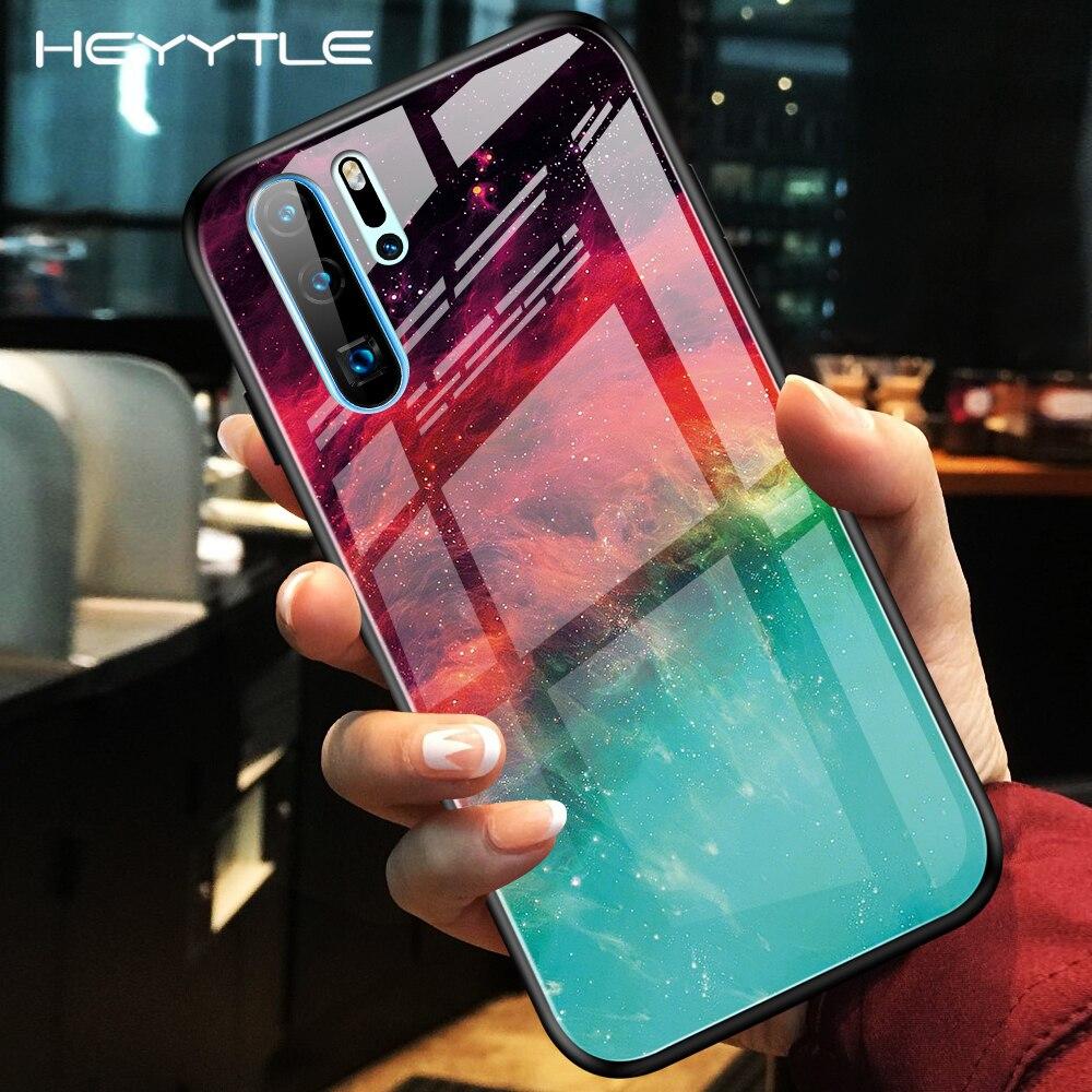 Heyytle Gradiente Caixa De Vidro Temperado Para Huawei P20 P30 Pro Companheiro 20 Lite Y6 Céu Estrelado Caso De Honra 20 10i Pintado Tampa Do Espaço