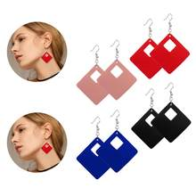 Rinhoo 2019 rhombus Leather Drop Earrings multicolor Geometric Hollow Square Leather dangle Earrings Simple women jewelry gift(China)