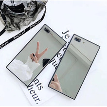 Square Mirror Phone Case For iphone 11 Pro XS Max 7 8 6s 6 plus X XR Soft TPU Make-up Shockproof Cover Back shell