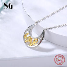 SG Fashion i love you moon 925 sterling silver necklace couple gift for women halloween jewelry chain letter 2019