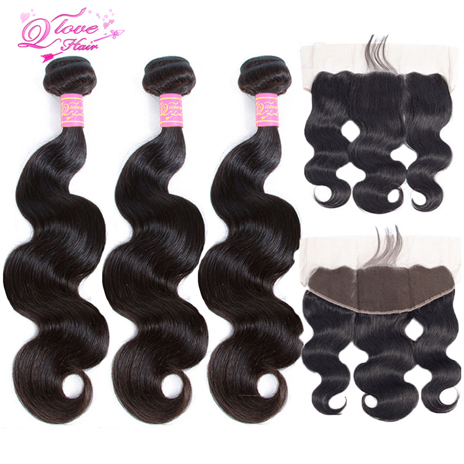 Queen Love Hair 13x4 Lace Frontal Closure With Bundles Brazilian Body Wave Human Hair Bundles With Lace Closure Non Remy Hair